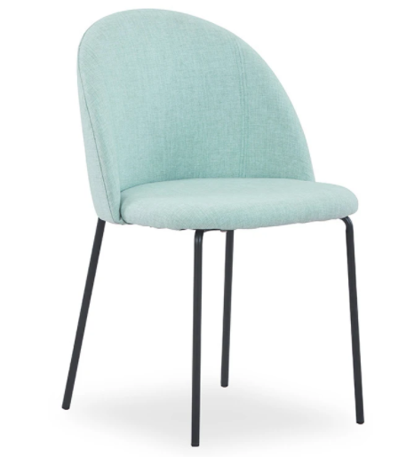 Commercial furniture black metal legs green linen fabric upholstered dining chair