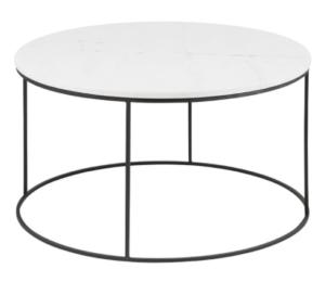 Black metal frame marble top round coffee table