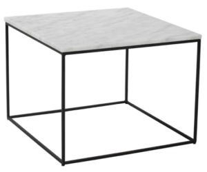 Black metal frame marble top square coffee table