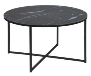 Metal frame black marble top round coffee table
