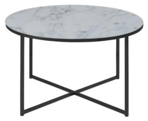 Black metal frame white marble top round coffee table