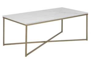 Brass gold metal frame white marble top rectangle coffee table 120cm
