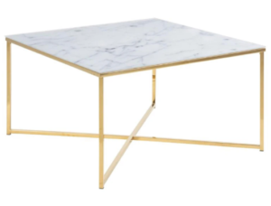 Brass gold metal frame white marble top square coffee table