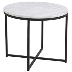 Black metal frame marble top round side table