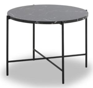 Black metal frame black marble top round coffee table