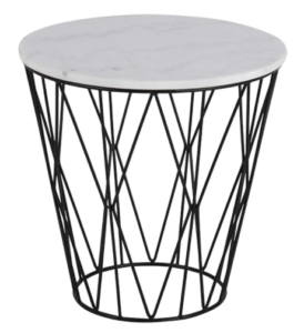 Black metal wire white marble top round side table