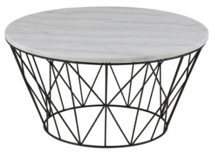 Black metal wire white marble top coffee table