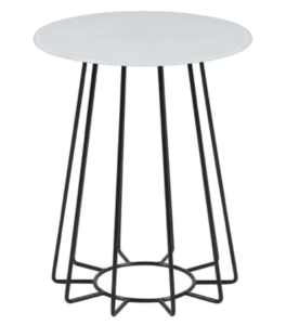 White tempered glass metal wire round side table