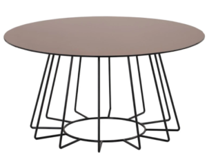 Brown metal wire round coffee table