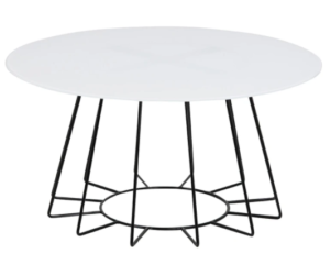 White tempered glass top metal wire round coffee table