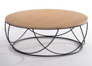 Wooden top black metal base round coffee table