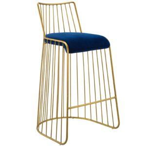 Gold Stainless Steel Upholstered Velvet Bar Stool
