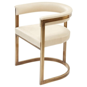 Stainless steel frame beige PU upholstered restaurant dining chair