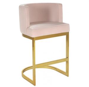 Brass gold stainless steel frame  blush pink velvet bar stool