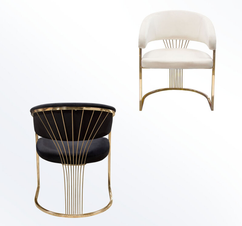 Luxury design stainless steel velvet upholstered dining chair