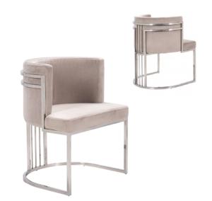 Wholesale polished stainless steel beige velvet upholstered chair