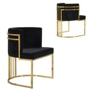 Wholesale brass gold stainless steel black velvet upholstered chair