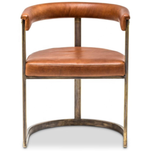 Stainless steel frame brown PU upholstered restaurant dining chair