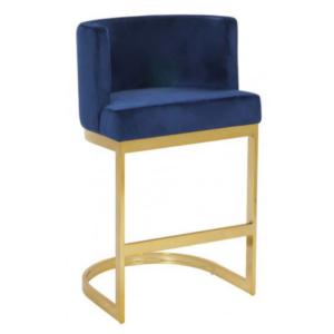 Brass gold stainless steel frame  navy blue velvet bar stool