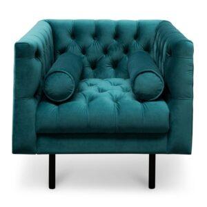 Greev velvet button tufted metal legs armchair