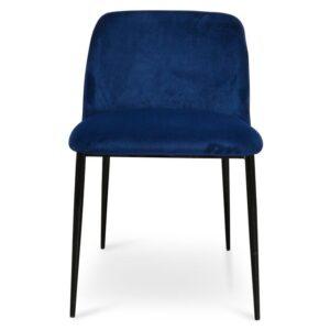 Black metal legs blue velvet upholstered dining chair