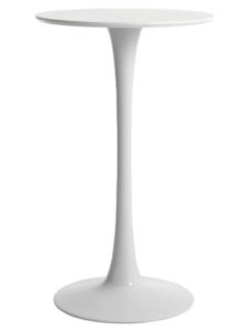 White MDF top with round metal base bar table