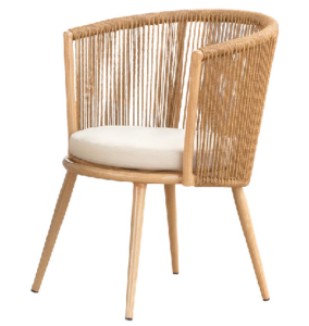 Outdoor Patio Chair with Aluminum Frame in Twisted Rope and Wood Grain