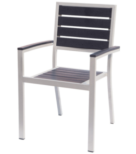 Aluminum frame plastic wood  stackable dining chair