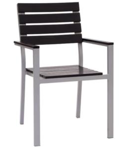 Aluminum frame plastic wood garden dining chair