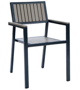 Black powder coated aluminum frame plastic wood  dining chair