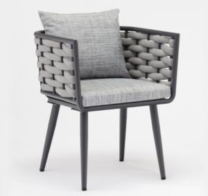 Gray aluminum frame rope weaving garden dining chair