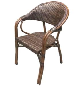 Aluminum frame PE wicker restaurant dining chair