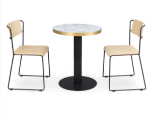 Black metal frame Plywood cafe dining Chair