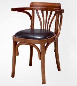 Walnut lacquer wooden frame upholstered seat cushion restaurant dining chair