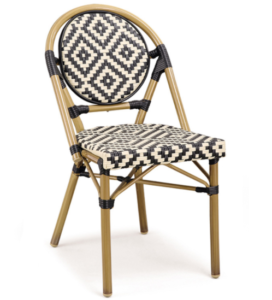 Outdoor aluminum bistro bamboo look dining chairs