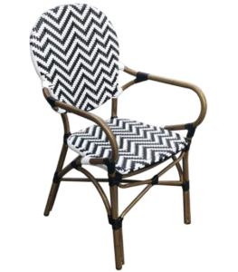 French bistro chair aluminum frame rattan cafe chair