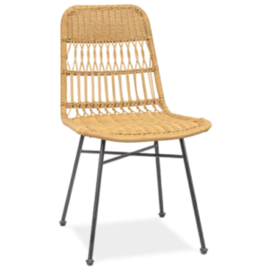 Black metal steel legs rattan restaurant chair