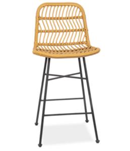 Black metal legs rattan bistro bar chair