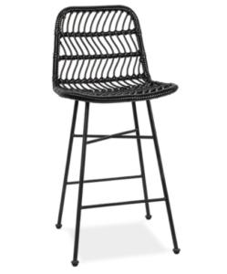 Bar furniture black metal legs rattan bistro bar chair