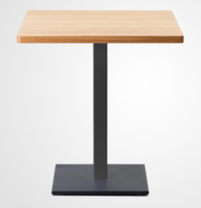 Wooden top black metal base square dining table
