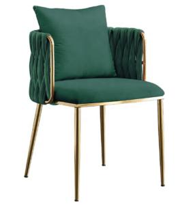 Golden stainless steel frame green velvet weaving dining chair