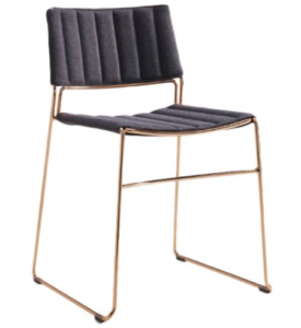 Golden metal wire stackable dining chair