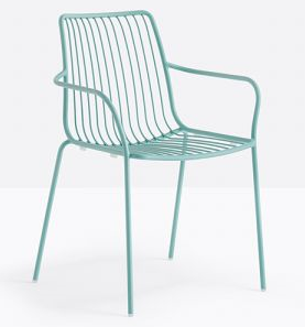 Green powder coating metal wire cafe chair