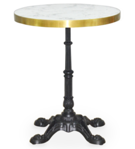 Black metal base marble top round dining table