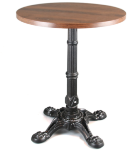 Wooden top black cast iron base cafe table