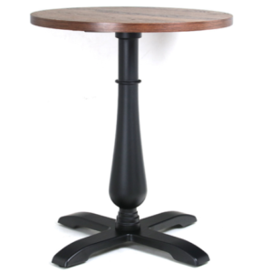 Wooden top black round metal base cafe table