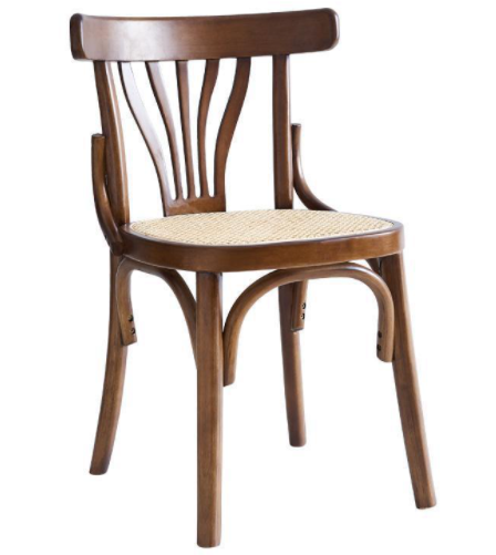 Brown lacquer wooden frame cane seat chair