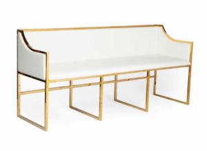 Brass gold stainless steel frame white leather upholstered sofa for wedding rental