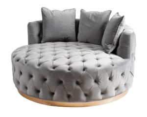Stainless steel base gray velvet tufted upholstered round lounge sofa