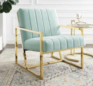 Brass gold stainless steel frame green velvet upholstered armchair